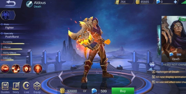 Aldous hero fighter mobile legends terkuat