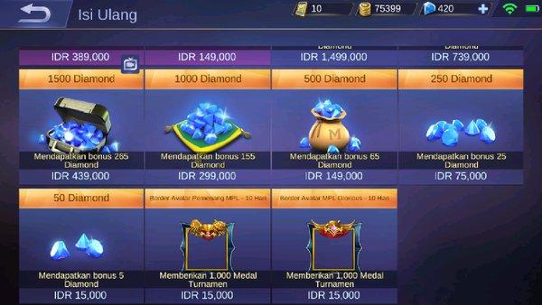 Top Up Diamond Menggunakan Pulsa Di Game Mobile Legends