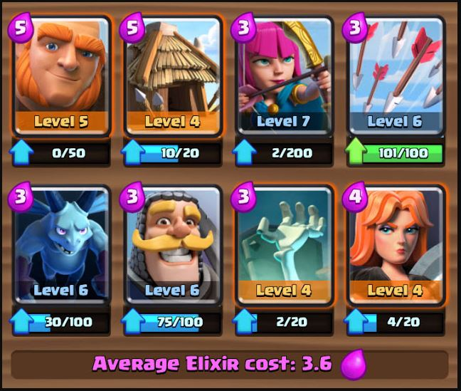 deck pada level clash royale