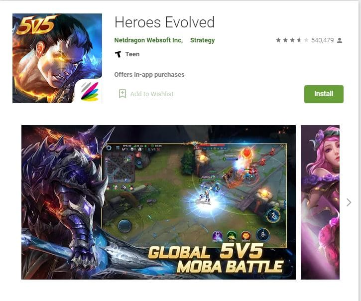 Heroes evolved android