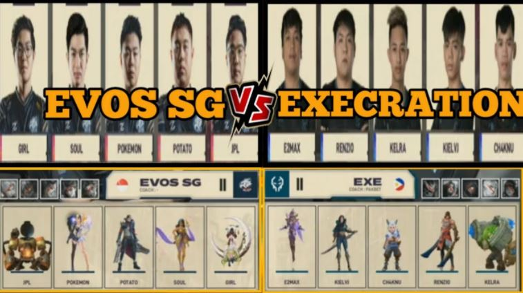 pertandingan mobile legends antara evos SG dan EXE