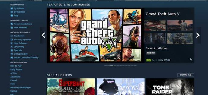 memilih game yang tersedia